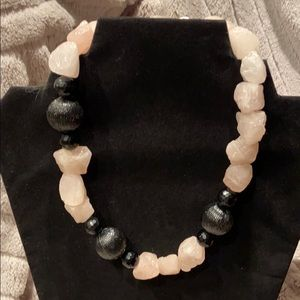 Chunky pink rock and black bead necklace